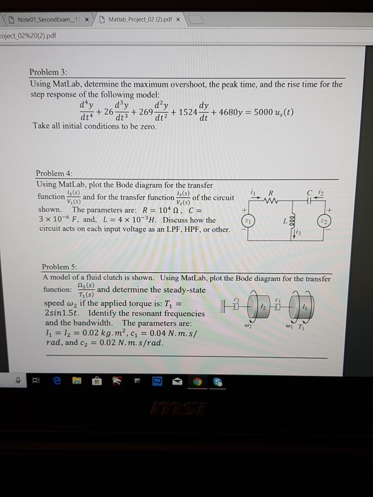 Solved: DNote01 SecondExam 1 X YD Matlab Project 02 (2)pdf