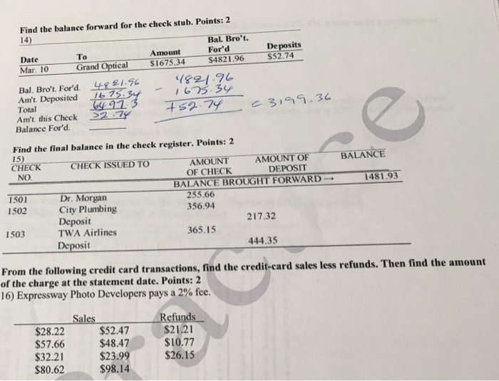 solved find the balance forward for the check stub point