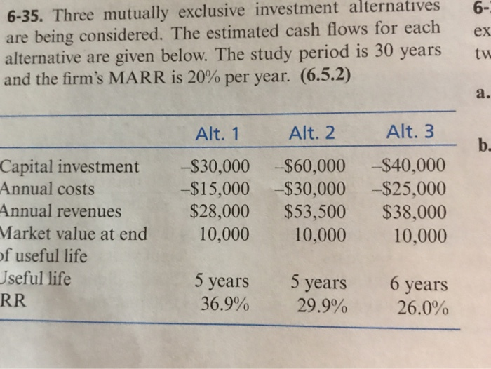 Solved: Alternatives 6- 6-35  Three Mutually Exclusive Inv