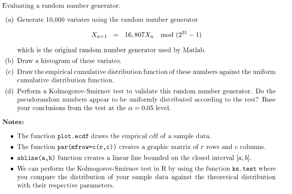 Solved Evaluating A Random Number Generator A Generate