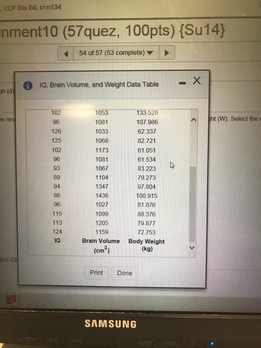 Solved: 1Q, Brain Volume, And Weight Data Table Body Weigh