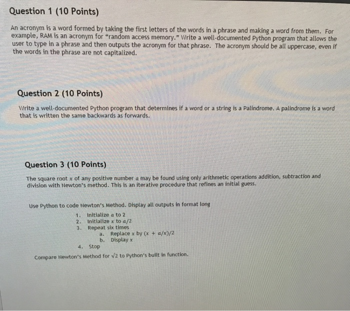 Solved Question 1 10 Points An Acronym Is A Word Formed