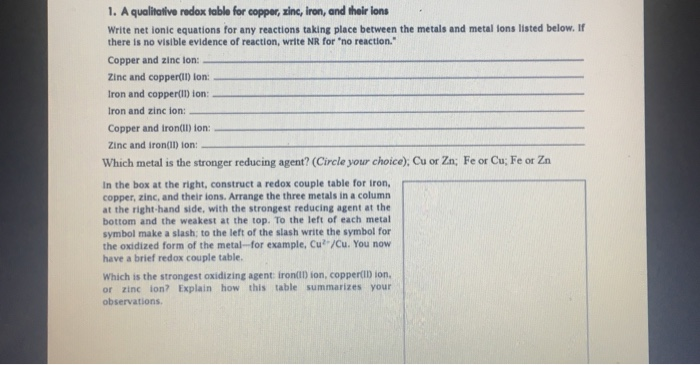 Solved 1 A Qualitative Redox Table For Copper Zinc Iro