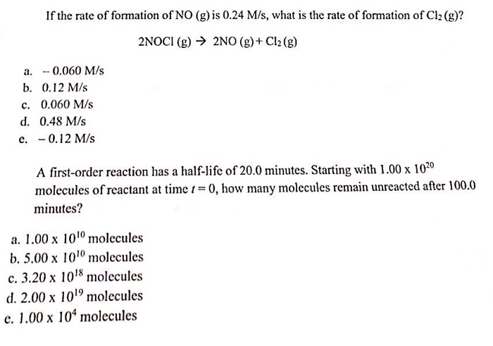 If The Rate Of Formation No G Is 0 24 M S