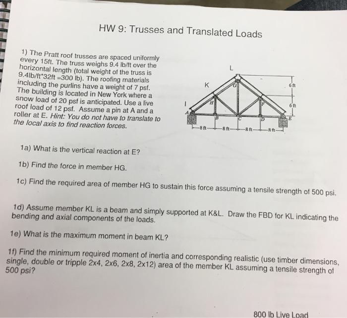 Solved: HW 9: Trusses And Translated Loads 1) The Pratt Ro
