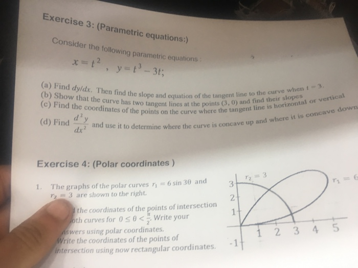 Solved: Consider The Following Parametric Equation: X = T ...