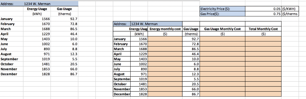 Solved Record A Macro Code To Produce Energy Monthly Cost Chegg
