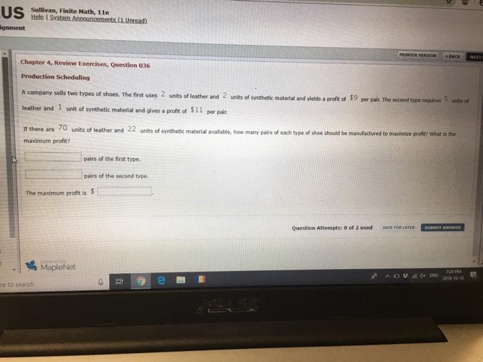 Solved: Sullivan, Finite Math, 11e Gnment R VERSION BACK C