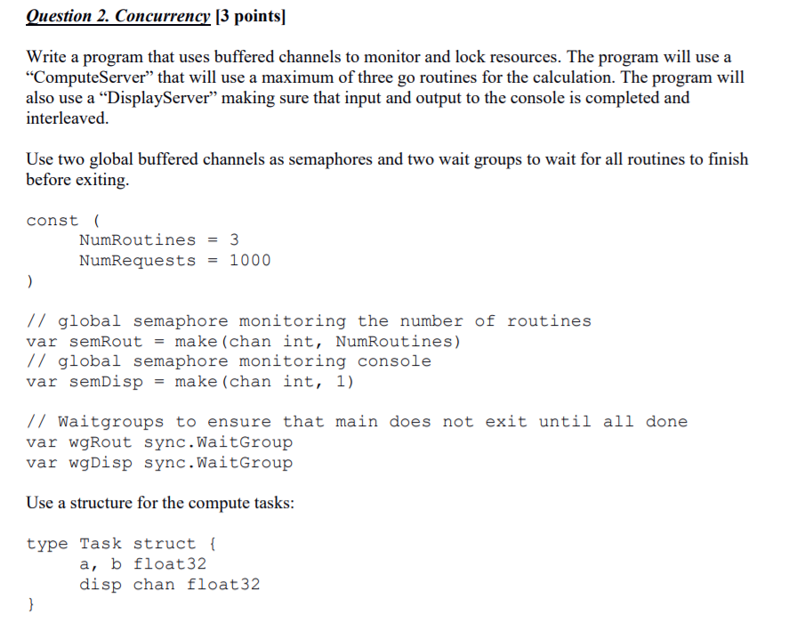 Ouestion 2  Concurrency 13 Points Write A Program