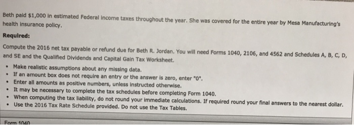 Qualified Dividends And Capital Gain Tax Worksheet...   Chegg.com