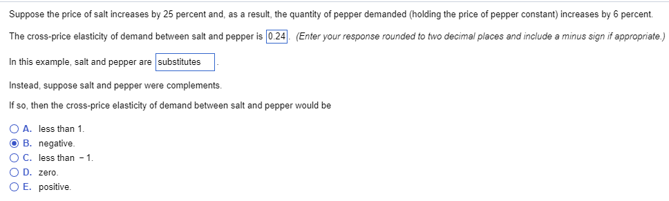 Solved Suppose The Price Of Salt Increases By 25 Percent