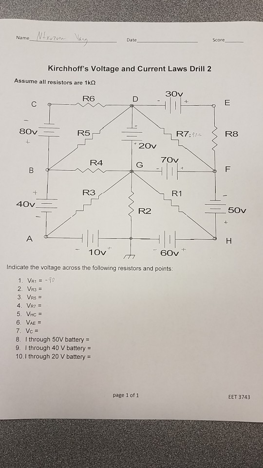 Solved: Score Name Kirchhoff's Voltage And Current Laws Dr