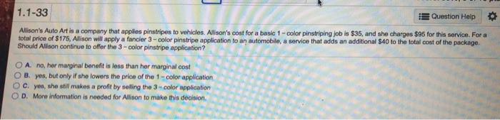 Solved 1 1 33 Question Help Allison S Auto Art Is A Com Chegg Com