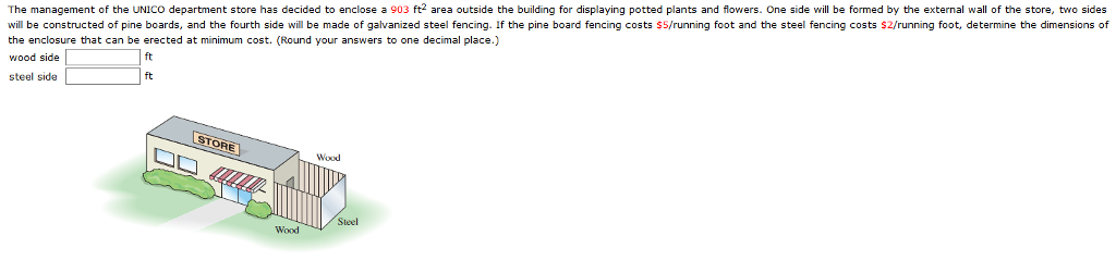 The management of the UNICO department store has decided to enclose a 903 ft2 area outside the building for displaying potted plants and flowers. One side will be formed by the external wall of the store, two sides will be constructed of pine boards, and the fourth side will be made of galvanized steel fencing. If the pine board fencing costs $5/running foot and the steel fencing costs $2/running foot, determine the dimensions of the enclosure that can be erected at minimum cost. (Round your answers to one decimal place.) wood side steel side ft TORE Wood Steel Wood