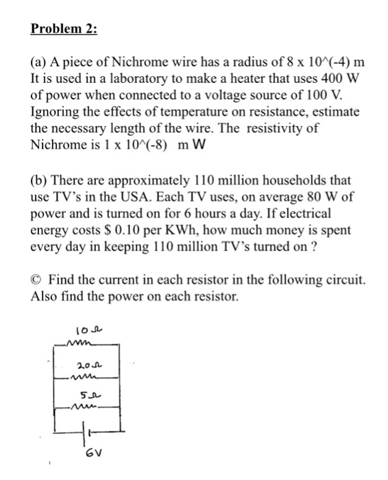 Solved: Problem 2: (a) A Piece Of Nichrome Wire Has A Radi ...