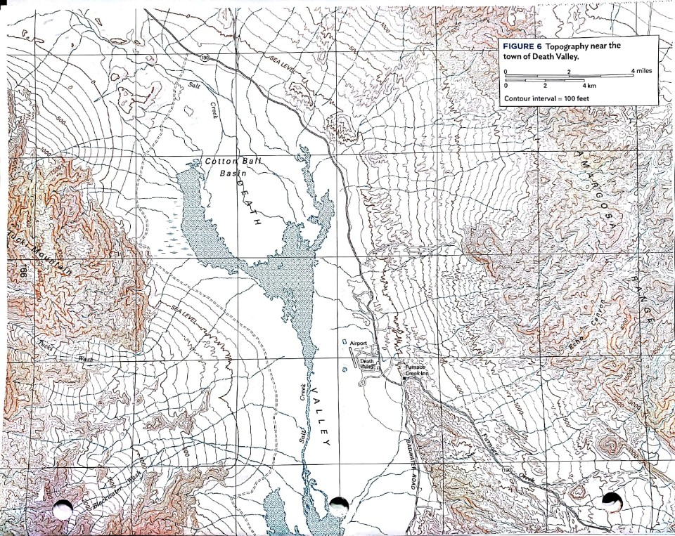 topographic map of death valley Solved Question 3 Examine The Map Of The Area Surroundin
