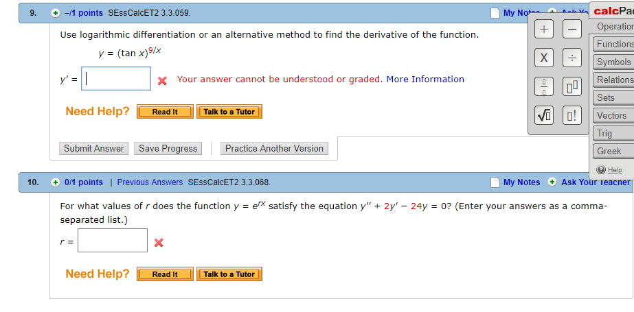 Solved: CalcPa Operatior Functions Symbols Relations Sets