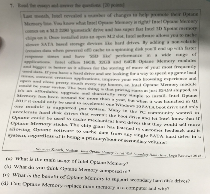 Solved: 7  Read The Essays And Anewer The Questions [20 La