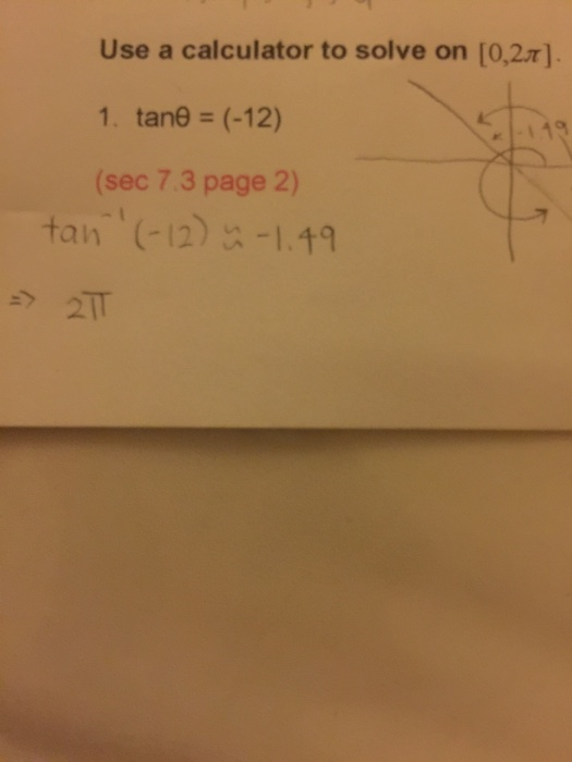 solved use a calculator to solve on 0 2 pi tan theta
