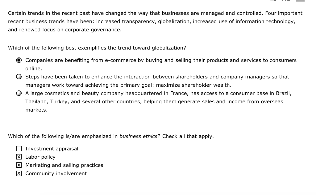Solved: Business Trend And Ethics | Chegg com