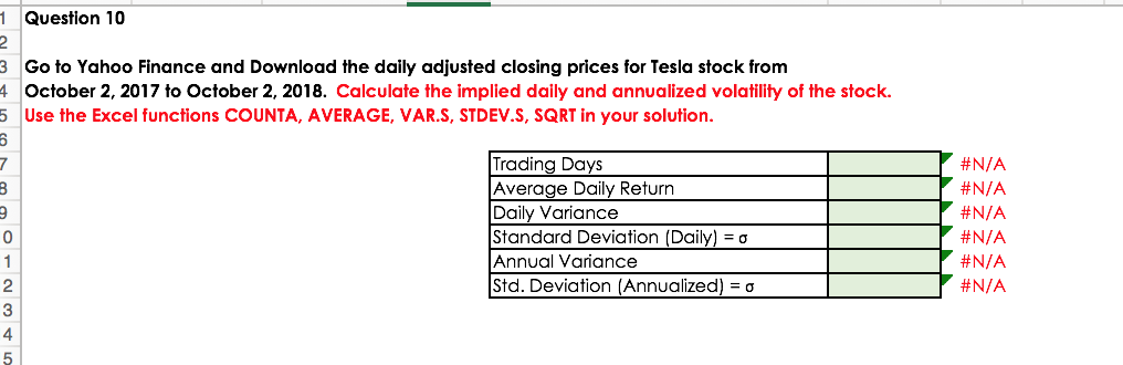 Question 10 Go To Yahoo Finance And The Daily Adjusted Closing Prices For Tesla Stock