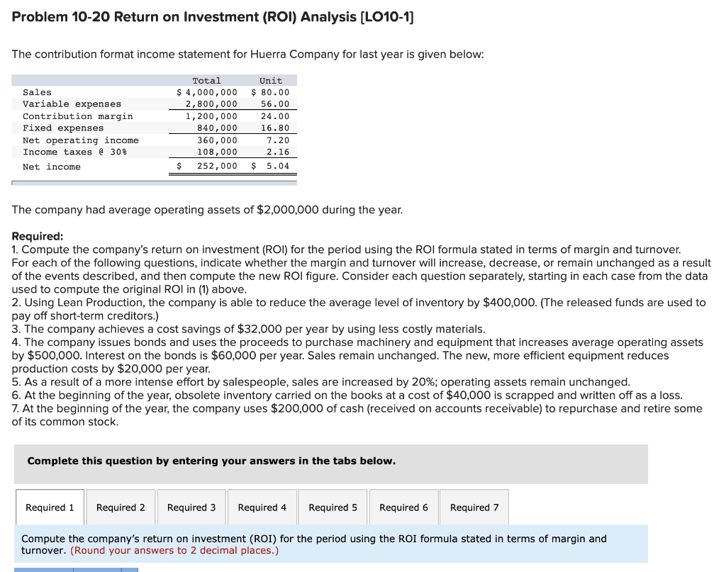 Solved: Problem 10-20 Return On Investment (ROI) Analysis