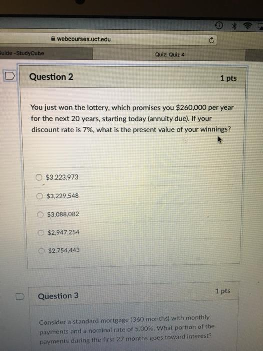 Solved: Webcourses ucf edu Uide-StudyCube Quiz: Quiz 4 Que