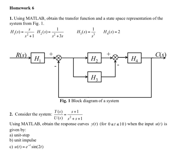 Solved homework 6 1 using matlab obtain the transfer fu using matlab obtain the transfer function and a state space representation ccuart Choice Image