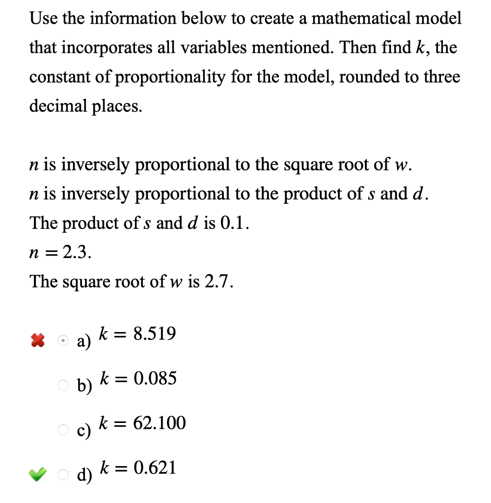 Solved: Use The Information Below To Create A Mathematical