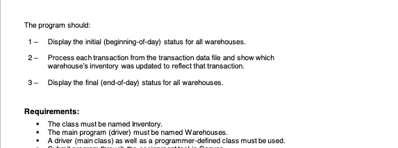 Solved: Inventory Management System Objective Work With Mu