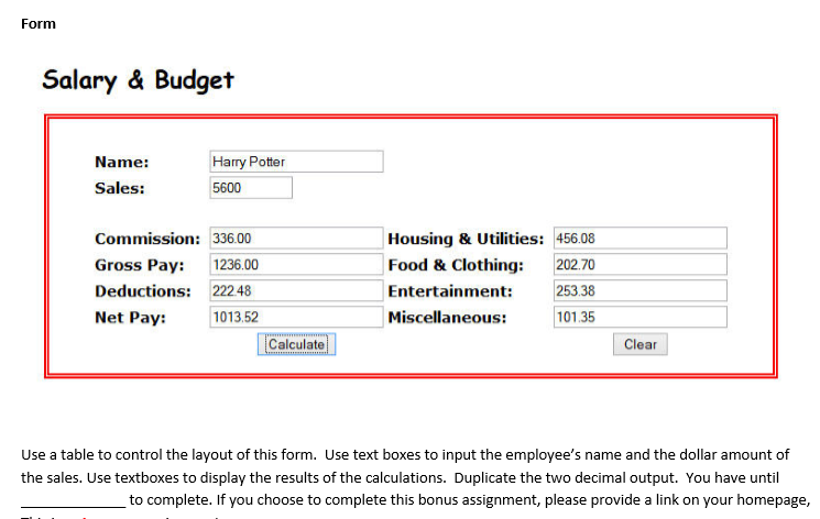 solved  javascript salary and budget create a form that wi