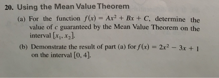 Solved 20 Using The Mean Value Theorem A For The Funct