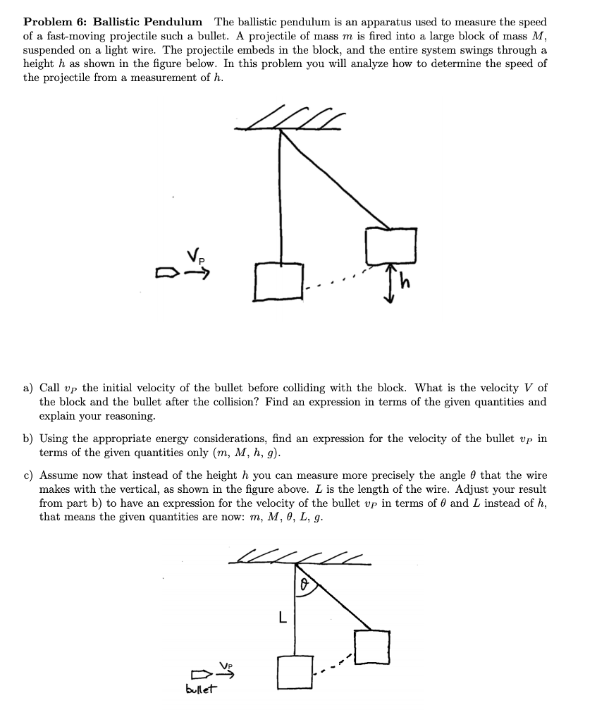 Solved Problem 6 Ballistic Pendulum The Pendul Wiring Diagram Is Used To Troubleshoot Problems And Make Sure An Apparatus Measure Speed