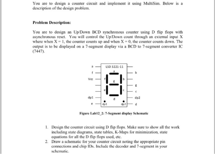 you are to design a counter circuit and implement it using multisim  below  is a