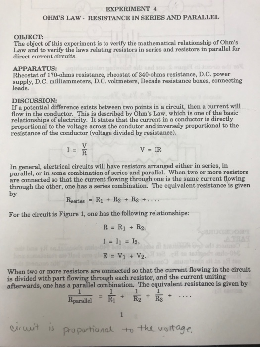 Solved: EXPERIMENT 4 OHM'S LAW-RESISTANCE IN SERIES AND PA ...