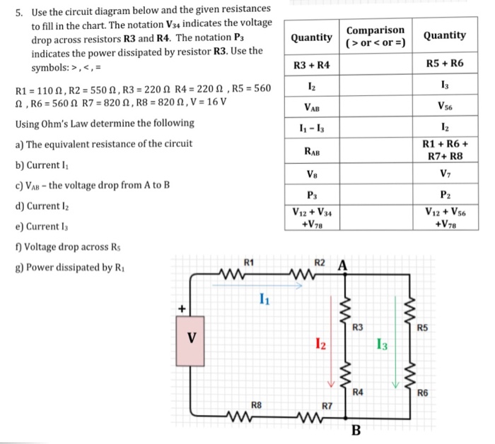 solved use the circuit diagram below and the given resist rh chegg com Basic Circuit Symbols Motor Schematic Symbol
