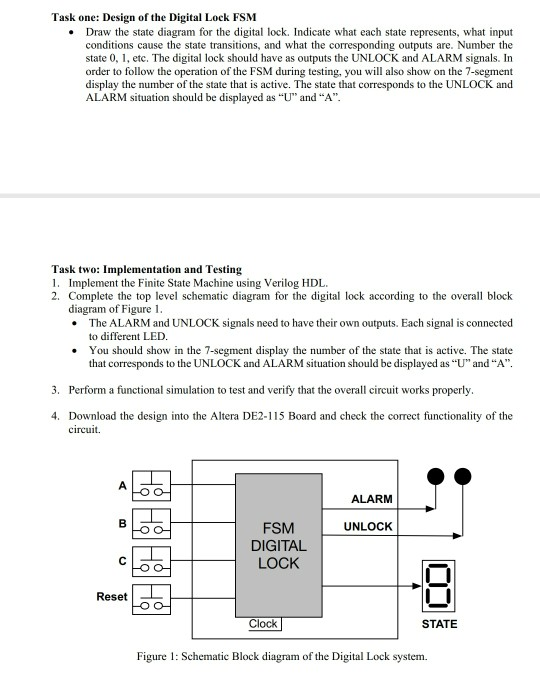 Title: Design And Implementation Of A Digital Lock    | Chegg com