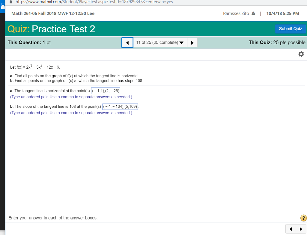 Solved A Https J Www Mathxl Com Student Player Test Aspx Chegg Com