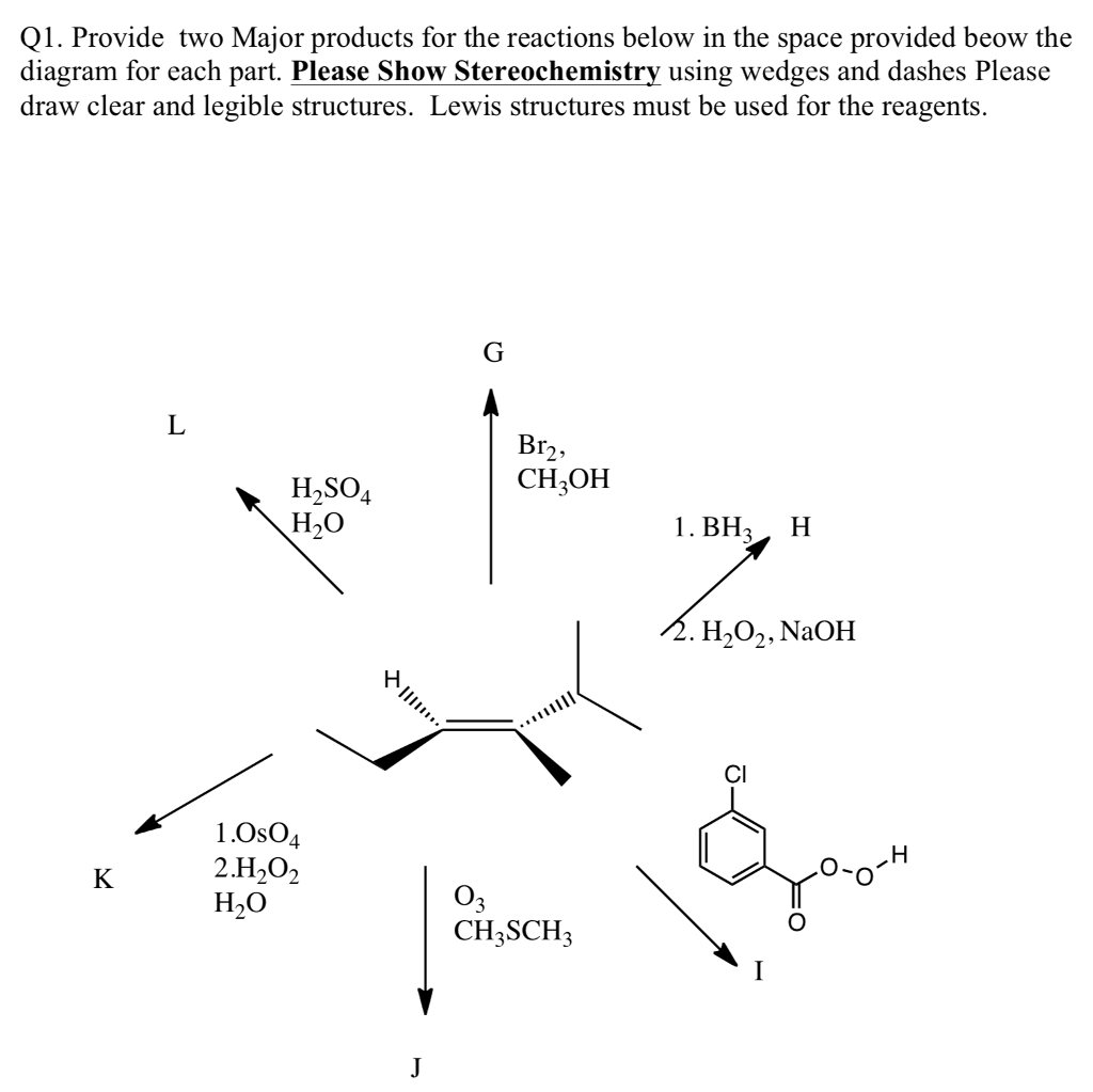 q1  provide two major products for the reactions below in the space  provided beow the