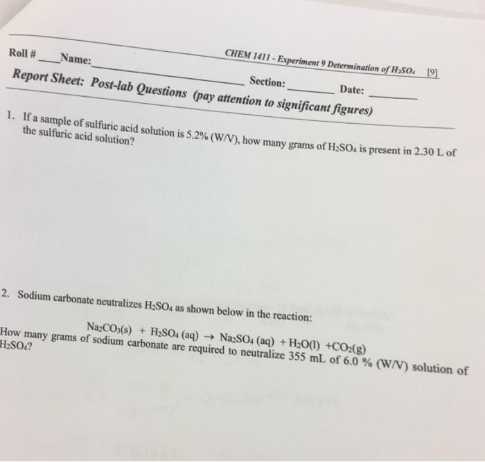 solved chem 1411 experiment 9 determination of hso ro rh chegg com College Chem Lab Manual High School Chemistry Lab Manual