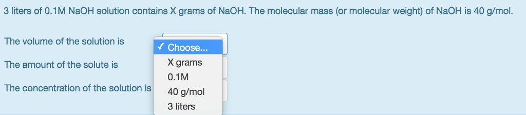 Solved: 3 Liters Of 0 1M NaOH Solution Contains X Grams Of