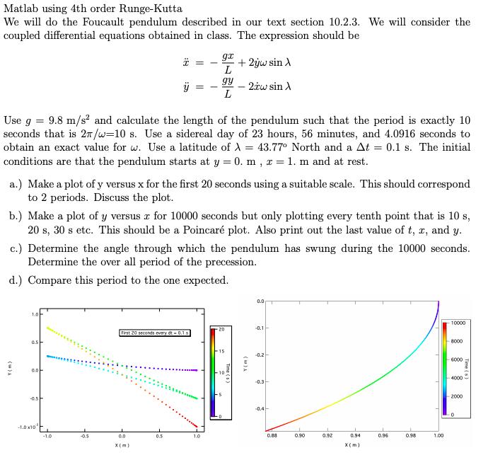 Matlab Using 4th Order Runge-Kutta We Will Do The     | Chegg com