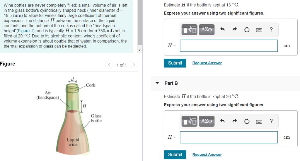Solved: Estimate H If The Bottle Is Kept At 13 °C Wine Bot
