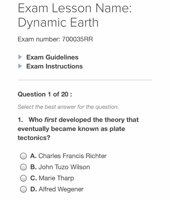 Solved: Exam Lesson Name: Dynamic Earth Exam Number: 70003