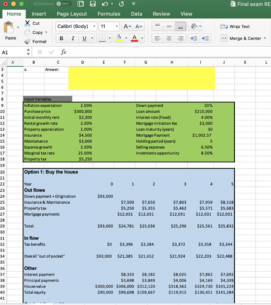 consider the buy vs rent excel spreadsheet prov chegg com