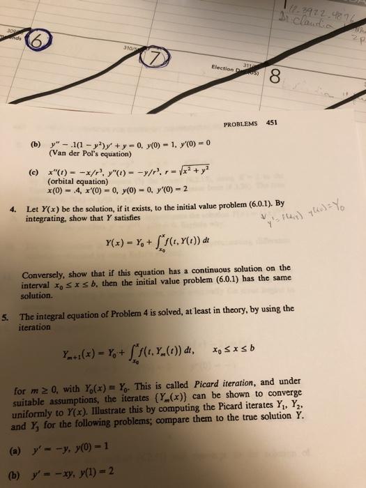 41ab80c1676a Solved  Election 8 PROBLEMS 451 (Van Der Pol s Equation ...