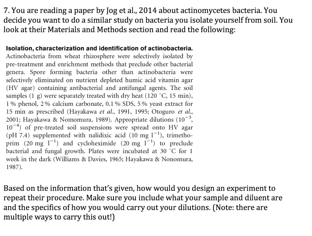 Solved 7 You Are Reading A Paper By Jog Et Al 2014 Abo