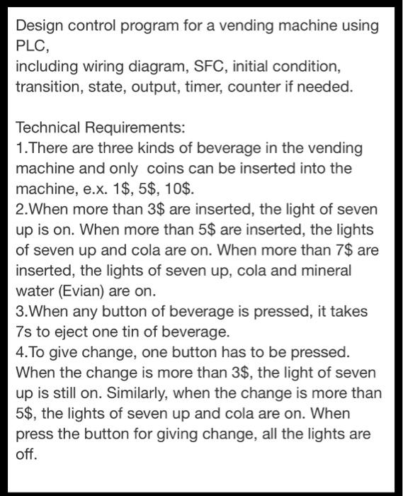 design control program for a vending machine using plc including wiring  diagram, sfc, initial