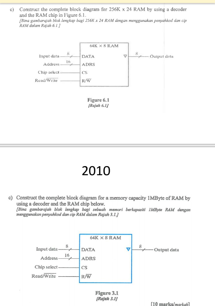 c) construct the complete block diagram for 256k x 24 ram by using a decoder