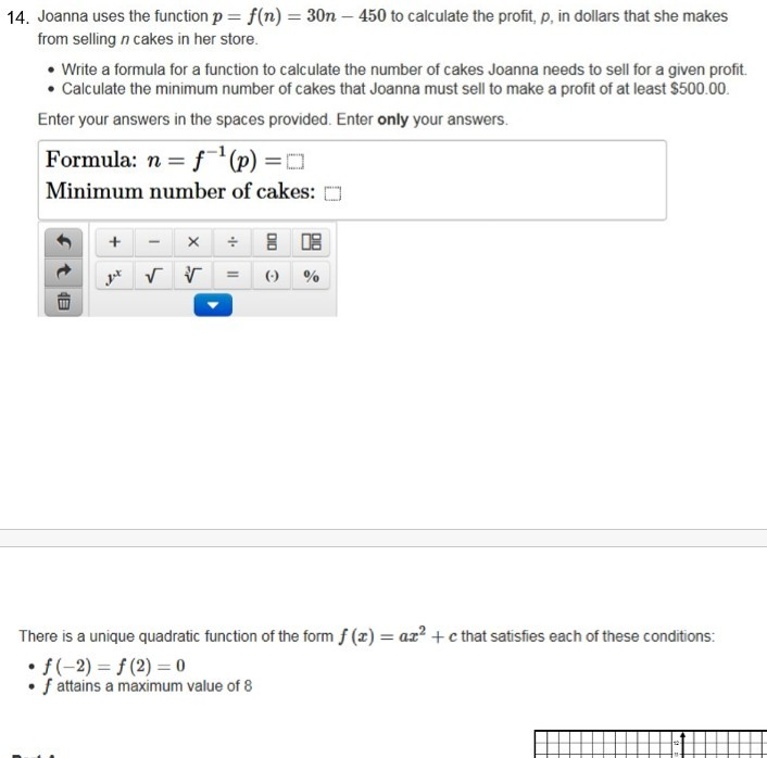 Solved: 14, Joanna Uses The Function P = F(n) = 30n-450 To